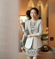 Casual Simple Women Cotton Blend Slimming Long Sleeve Mid-Length Grey Suit Coat