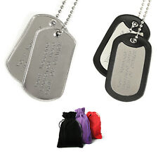 Two Engraved Army Dog Tags & Silencers Personalised Ball Chain Gift COD Present
