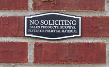 Engraved NO SOLICITING SALES FLYERS POLITICAL Home Door Plaque Sign - 25 colors