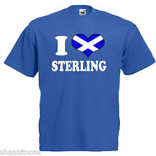 I Love Heart Sterling Scotland Adults Mens T Shirt 12 Colours Size S - 3XL