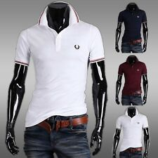 In US Men Casual Slim Fit T-Shirts Short Sleeve Polo Shirts Tee Tops S M L SIZE
