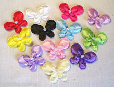 N°9P - LOT  2  APPLIQUES PAPILLON DOUBLE SATIN 3D PERLE **4,5 cm** BARRETTE