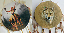Native American Drum~Indian Headdress~Wolf~Warrior~Indian on Horse~25cm Dia~