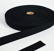 Cotton Herringbone Webbing 25mm - Black - 1 Metre to 50 Metres - Bag Straps Etc
