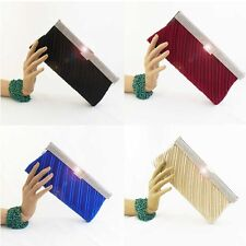 clutch bag with bling bling fram satin red,blue, black, choices