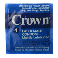 CROWN CONDOMS rubber latex lightly lubricated male thin sensitive pink 24 48 100