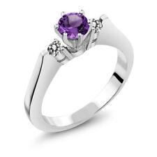 0.58 Ct Round Purple Amethyst White Diamond 14K White Gold 3-Stone Ring