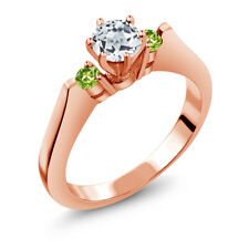 0.74 Ct Round White Topaz Green Peridot 925 Rose Gold Plated Silver 3-Stone Ring