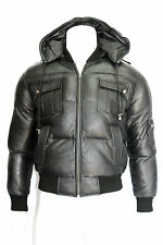PILOT 6  MENS WINTER PUFFER  CELEBRITY BLACK SOFT NAPA REAL LEATHER  JACKET
