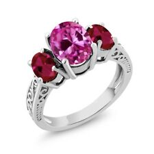 3.76 Ct Oval Pink Created Sapphire Red Created Ruby 14K White Gold 3-Stone Ring