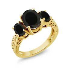 2.41 Ct Oval Black AAA Onyx 14K Yellow Gold 3-Stone Ring