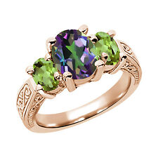 3.30 Ct Oval Green Mystic Topaz Peridot 925 Rose Gold Plated Silver 3-Stone Ring