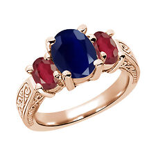 3.80 Ct Blue Sapphire African Red Ruby 925 Rose Gold Plated Silver 3-Stone Ring