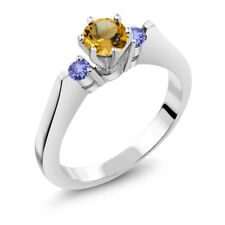 0.61 Ct Round Yellow Citrine Blue Tanzanite 925 Sterling Silver 3-Stone Ring