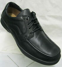 Mens Clarks Line Action Black Leather Lace Up H (extra wide)  Fitting