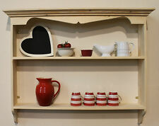 Shabby Chic French Country Style Rustic Painted Kitchen Wall Shelf, Solid Pine