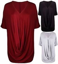 Womens New Ruched Gathered Ladies Short Batwing Sleeve Cowl T-Shirt Stretch Top