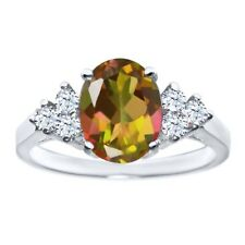 2.54 Ct Oval Mango Mystic Topaz White Topaz 14K White Gold Ring