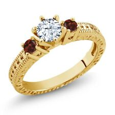 0.84 Ct Round White Topaz Red Garnet 18K Yellow Gold Plated Silver 3-Stone Ring
