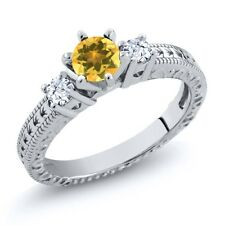 0.73 Ct Round Yellow Citrine White Topaz 925 Sterling Silver 3-Stone Ring