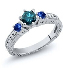 0.81 Ct Round Blue SI1/SI2 Diamond Sapphire and 925 Sterling Silver 3-Stone Ring