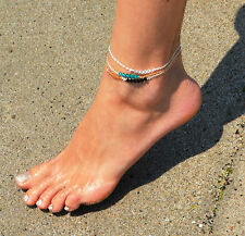 14K Gold filled or Sterling Silver anklet w/ Swarovski crystals - otional color