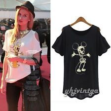 Fashion Women Off Shoulder Crew Neck Skull Mickey Mouse Print Casual Top T-Shirt