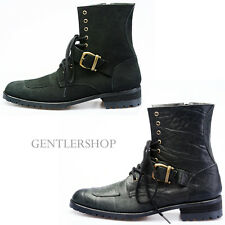 Mens Fashon Shoes High Top Patched Buckle Boots Handmade 5033, GENTLERSHOP