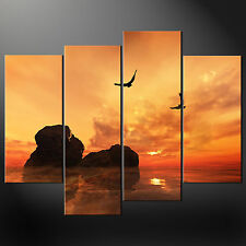 SEA SUNSET ABSTRACT PREMIUM CASCADE CANVAS PRINT PICTURE MANY SIZES FREE UK P&P