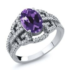 1.68 Ct Oval Purple Amethyst 925 Sterling Silver Ring