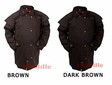 Oil Cloth Oilskin Western Australian Waterproof Short Duster Coat Jacket M L XL