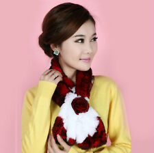 Womens Real Rex Rabbit Fur neck warmer  muffler scarf scarves wrap Red and White