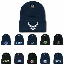 Embroidered US Military Logo Beanies Cuffed Long Knit Caps Hats