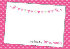 10 Personalised Baby Girl Thank You or Announcement cards- 4 designs