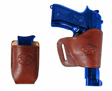 Barsony Burgundy Leather Yaqui Gun Holster w/Mag Pouch for Springfield Full Size