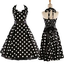 Vintage 1950s 1960s Swing Rockabilly Black White Polka Dot Evening Party Dress