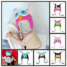 Baby Infant Toddler Girl Handmade Knit Wool Crochet Owl Hat with Ear Flap B72U