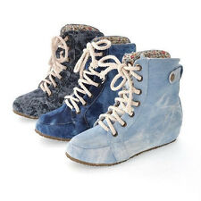 Hot sell Woman's girl lace denim increased cross-strap flat-bottomed boots/shoes