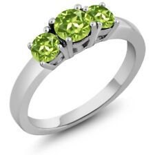 1.20 Ct Round Green Peridot 925 Sterling Silver Ring