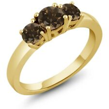 0.98 Ct Round Brown Smoky Quartz 925 Yellow Gold Plated Silver Ring