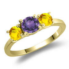1.17 Ct Round Purple Amethyst Yellow Sapphire 925 Yellow Gold Plated Silver Ring
