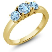 1.14 Ct Sky Blue Topaz Sky Blue Aquamarine 925 Yellow Gold Plated Silver Ring