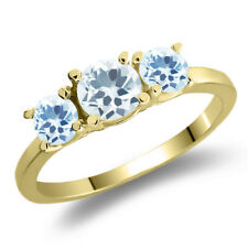 1.11 Ct Sky Blue Aquamarine Sky Blue Topaz 925 Yellow Gold Plated Silver Ring