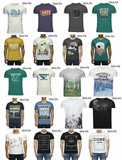 Mens Jack Jones Jeans Designer Slim Fit Crew Neck Graphic Retro Tee T-Shirt Top