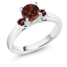 1.24 Ct Round Red Garnet Rhodolite Garnet 925 Sterling Silver Engagement Ring