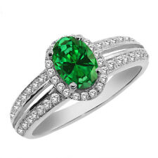 0.95 Ct Oval Green Simulated Emerald 925 Sterling Silver Ring