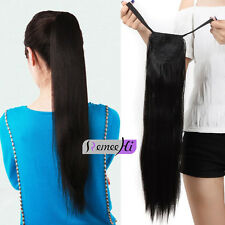 """16""""-24"""" high ponytail clip-on 100% real human hair extension 613# Bleach Blonde"""