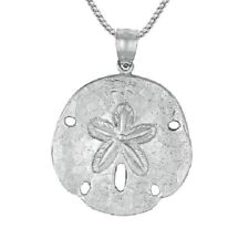 "Sterling Silver SAND DOLLAR Pendant, Made in USA, 18"" Italian Box Chain   #17-8"