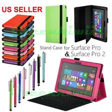For Surface Pro/Pro 2 Leather Case Premium Folding Folio Stand Cover + Stylus