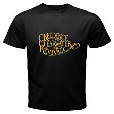 CREEDENCE CLEARWATER REVIVAL Logo Retro Rock Band Men's Black T-Shirt Size S-3XL